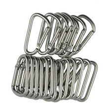 20pcs D Shape Hiking Carabiner Buckle Snap Spring Clip Hook Keychain Silver