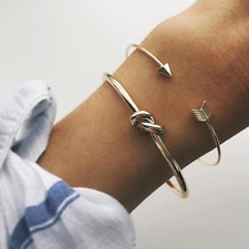 2Pcs/Set Fashion Womens Cute Gold Arrow Knot Bangle Opening Adjustable Bracelets