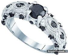 black diamond 1.0 carat 10K white gold engagement ring bridal anniversary