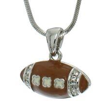 "W Swarovski Crystal American Football Ball Enamel Brown Necklace 18"" Chain"