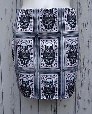 Russian Doll Skull Mini Skirt - Size 12 14 - Bodycon Horror Gun Candy Sugar