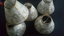 Set of 5 Gold & Cream Toile Clip On Hardback Chandelier Lamp Shades, paper like