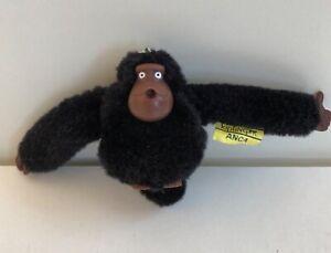 Kipling Black Monkey Anca with Tail Keyring New