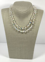 Vintage Necklace 2 Strand Aurora Borealis Crystals Faceted Sparkly Collar Length