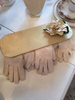 Vtg Yellow Glove Box 4 Pair Of Victorian Old Gloves Crochet Millinery Rose