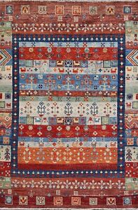 Geometric Gabbeh Oriental Area Rug Hand-knotted Wool Vegetable Dye Carpet 4x6