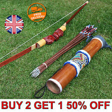 Handmade Bow and Arrow Archery Set + 10 Arrows + Wooden Carry Case Recurve UK