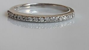 14k Natural Diamonds  Delicate Band With 18 Rounds total 0.50 Ct  Size 7.5