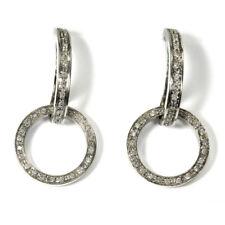 Diamant Ohrringe 750 Weissgold & 1.4ct Brillanten Vintage Italien um 1960 L:4 cm