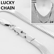 "24""STAINLESS STEEL SILVER HERRINGBONE CHAIN NECKLACE 6.5mm 26g C89"