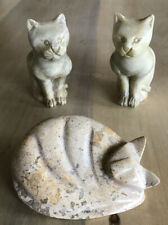 A Collection Of 3 Soapstone Vintage Cats