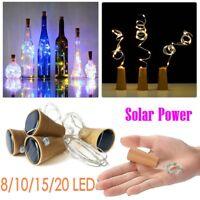 8/20 LED Solar Wine Bottle Cork Shaped String Fairy Lights Night Lamp Xmas
