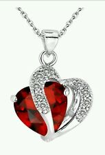 Valentine's Gift for Ladies Women Heart Red  Crystal Amethyst Maxi Statement
