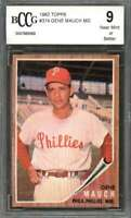 Gene Mauch Card 1962 Topps #374 Philadelphia Phillies BGS BCCG 9