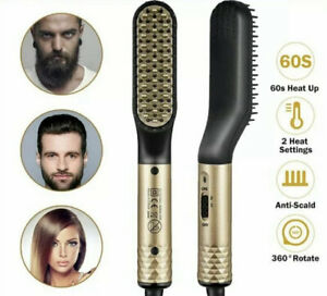 2 in 1 Electric Beard Hair Straightener Comb Brush Multifunctional Heated Styler