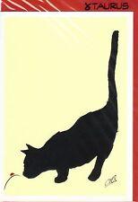 Grußkarte: Claude-Henri Saunier: schwarze Katze und Marienkäfer - black cat