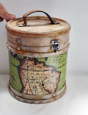 Wonderful Wooden Round Container with Map Design - Vintage Styled Storage Box
