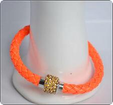 Mens Womens Leather Bracelet Bangle Silver Magnetic Rhinestone Free Gift Bag 31