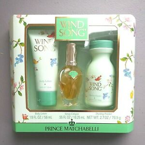 NEW WIND SONG Gift Box LOTION COLOGNE POWDER Prince Matchabelli Vintage