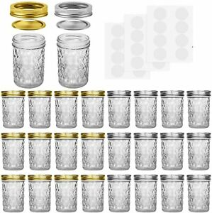 Mason Jars, 8 OZ Mason Jars Canning Jars Jelly Jars With Regular Lids and Bands