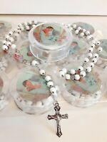 Wedding Rosary Bracelet  White Beads 12 pcs Recuerdos De Boda Bridal Party Favor
