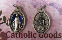 Miraculous Medal - 1  inch Oxidized Italian Silver Cast + Blue Medal