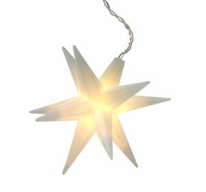 3D LED Weihnachts Stern weiß zum hängen - 12 cm - Fenster Deko Leuchtstern Timer