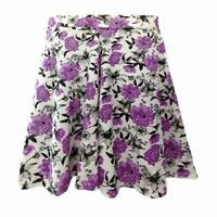 New Ladies Womens Girls Floral Skater Skirt Swing Summer Purple Blue Fasten Free