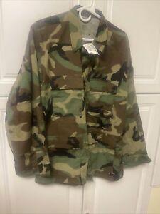 New BDU Shirt Coat USMC Medium Regular Hot Weather Ripstop Woodland Camo USGI