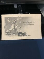 VINTAGE GIBSON HALLOWEEN GREETINGS! POSTCARD~BLACK CAT~Scarecrow Witch