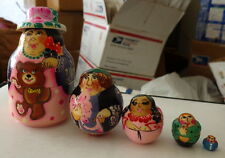 Wood Hand painted Russian Nesting Doll 5 Pcs Family #1