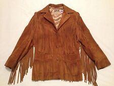 Vintage Schott Western Fringe Suede Leather Jacket Made N.Y.C USA Women Size 8
