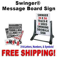 """24""""W x 36""""H Swinger Message Board Sidewalk Sign  White"""