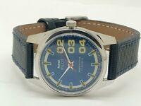 genuine hmt pilot hand winding mens steel blue dial 17jewel vintage india watch