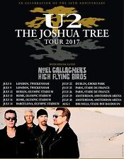 U2 THE JOSHUA TREE TOUR 2017 EUROPEAN TOUR PROMO POSTER NOEL GALLAGHER