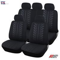 For Nissan Qashqai 2010> Black Fabric Full Car Seat Covers 9 Pcs Set