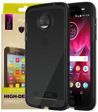 Tech21 Black Smoke EVO Check Case + PureGear Tempered Glass for Moto Z2 Force
