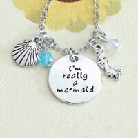 UK Shop Silber 'I'M Wirklich ein Mermaid' Charm Graviert Halskette der Kleine