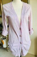 J.Crew Women's Lavender Tab Sleeve Linen Wool Cardigan Long Sweater , Small