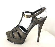 Saint Laurent YSL Tribute Black Gold Shimmer Platform Sandals Heels Shoes, 40.5