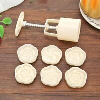 6 Schablone 3D Hand Druck Mondkuchen Form Mold Küchenhelfer Schimmel DIY DE