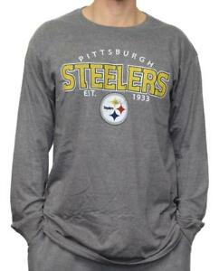 """Pittsburgh Steelers NFL G-III """"Playoff"""" Men's Dual Blend L/S T-shirt - Graphite"""