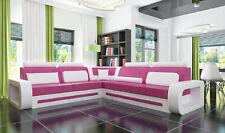 Eck Leder Garnitur Textil Stoff Couch Sofa Wohnlandschaft Polster Ecke Neu DAVOS