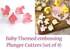 Baby Shower Cookie Fondant  Cutter Pram Bottle Horse Romper Cup Cake Topper
