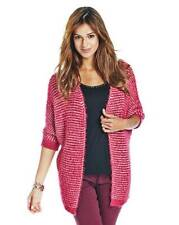 NEW with Tags Marisota MAGENTA PINK/WHITE Fluffy Knitted CARDIGAN  Size 20-22