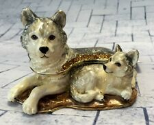 Wolf and Baby Enamelled Treasures Trinket Box with Necklace