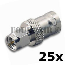 25 Pack SMA Male Plug to BNC Female RF Coax Antenna Adapter Converter Connector
