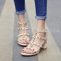 Womens Studded Rivet Ankle Strappy Block High Heels Peep toe Sandals Shoes UK5
