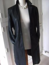 Ladies M&S black genuine real leather JACKET COAT UK 12 blazer full length goth