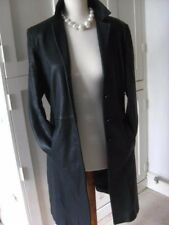 Ladies M&S black genuine leather JACKET COAT UK 16 14 blazer full length goth